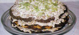 Печеночный торт с овощами